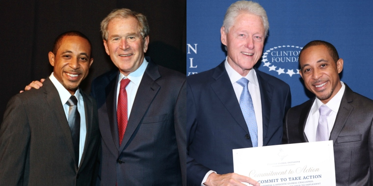 Project:NOW co-founder, Dale Godboldo, with Presidents Bill Clinton and George W. Bush.