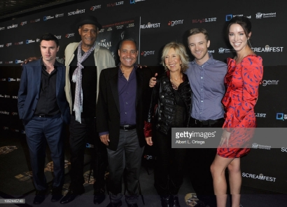 "LOS ANGELES, CA - OCTOBER 17: Timothy Woodward Jr., Tony Todd, Jeffrey Reddick, Lin Shaye, Michael Welch and Melissa Bolona arrive for Screamfest Closing Night: ""Final Wish"" held at the TCL Chinese Theatre 6 on October 17, 2018 in Los Angeles, California. (Photo by Albert L. Ortega/Getty Images)"